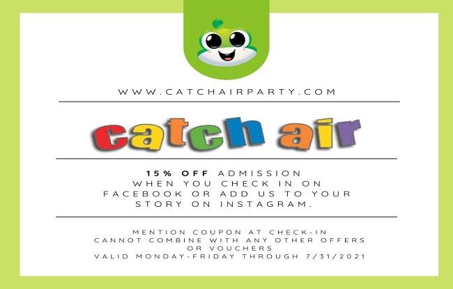 Catch Air Walk-in Special at Johns Creek, Snellville, Cumming, Marietta, Paramus, and Grand Rapids